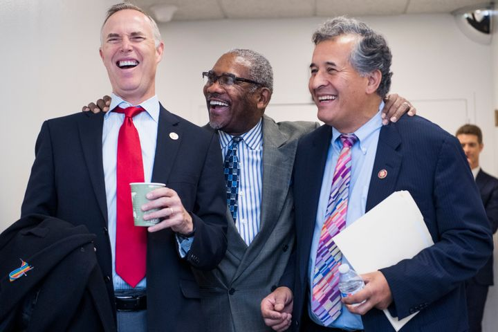Democratic Rep. Gregory Meeks of New York (center), has less seniority on the House Foreign Affairs Committee than his rival,