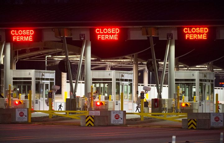 The border crossing at the Peace Arch Canada-U.S. border, pictured on March 20, 2020.