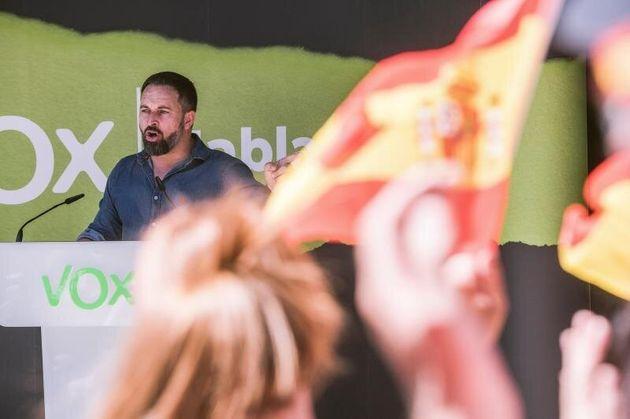 Santiago Abascal pronuncia un discurso en un acto de