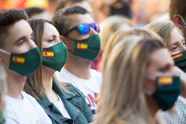 Simpatizantes de Vox asisten a un acto del partido en Lugo, el 3 de junio de