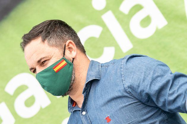 El presidente de Vox, Santiago Abascal, en un mitin en A Coruña, durante la campaña a las...
