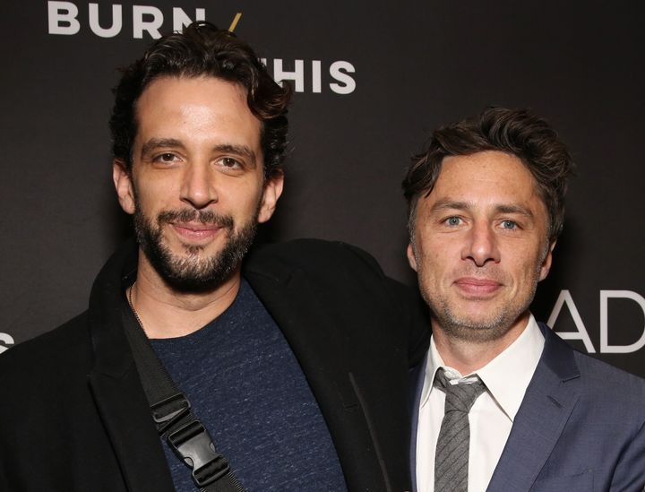 """Nick Cordero and Zach Braff at the Broadway production of """"Burn This"""" on April 15, 2019."""