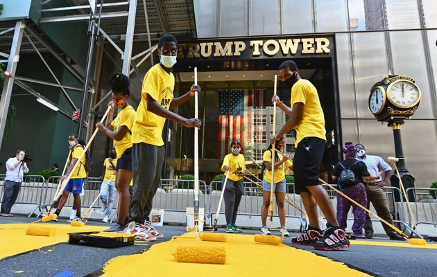 'Black Lives Matter' Painted In Huge Letters In Front Of Trump Tower In New