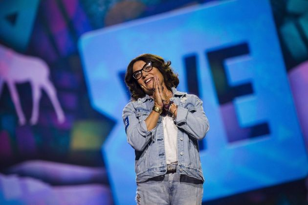 Margaret Trudeau speaks to the audience at fans at the We Day event in Toronto on Sept. 20,