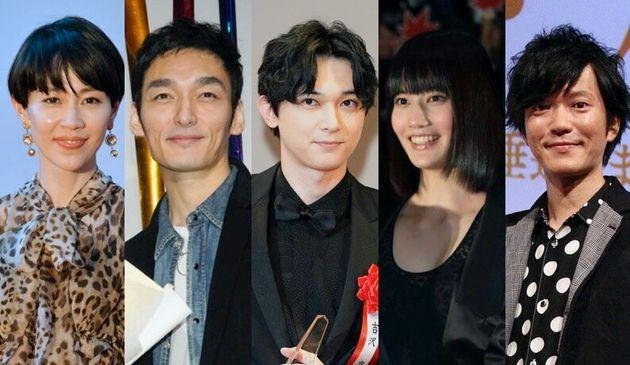 「青天を衝け」の出演者。木村佳乃さん、草彅剛さん、吉沢亮さん、橋本愛さん、田辺誠一さん(左から)