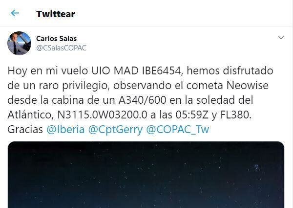 El tuit del piloto de Iberia, que es canela