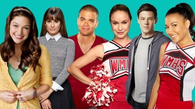 Melissa Benoist, Lea Michelle,Mark Salling,Becca Tobin,Cory Monteith y Naya Rivera, protagonistas de 'Glee'.