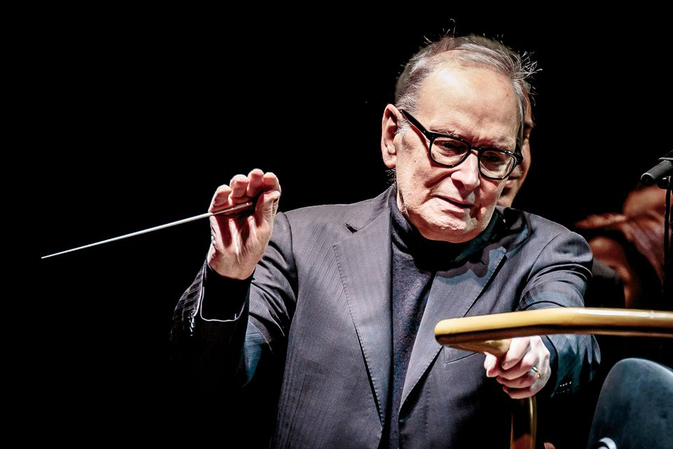 MILAN, ITALY - DECEMBER 02: Ennio Morricone performs on stage on December 2, 2017 in Milan, Italy. (Photo by Sergione Infuso/Corbis via Getty Images)