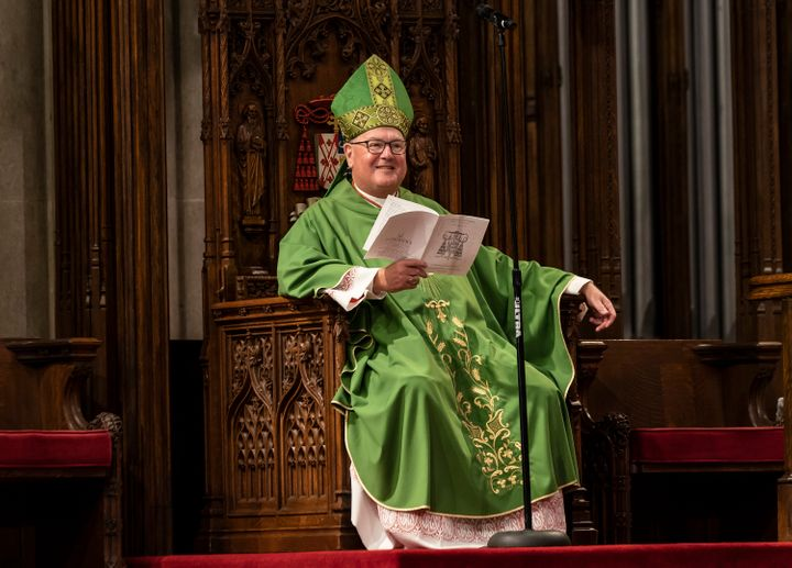 Timothy Dolan, Cardinal and Archbishop of New York, leads a Mass at New York City's St. Patrick's Cathedral on June 28, 2020.