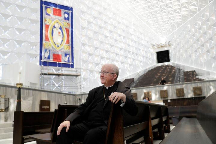Kevin Vann, Bishop of Orange County, poses for a photo inside Christ Cathedral in California after a $77 million renovation i