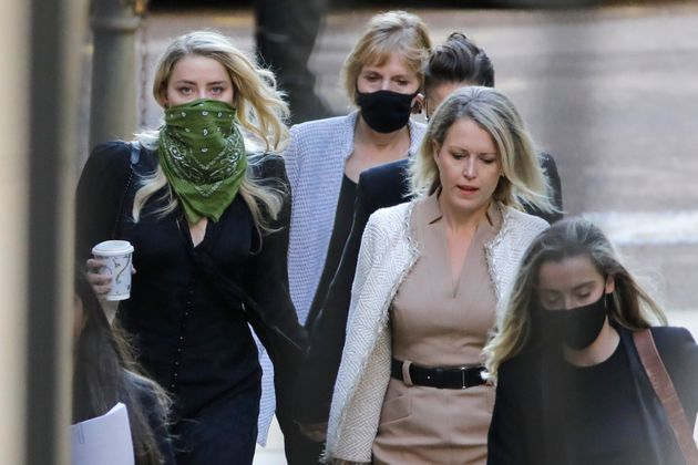 Amber Heard pictured arriving on the fourth day of the libel