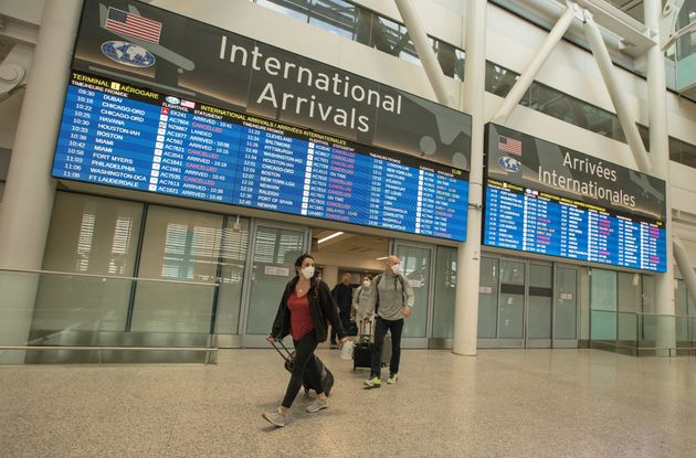 An arrivals area at Pearson International Airport in March, 2020. International medical students said...