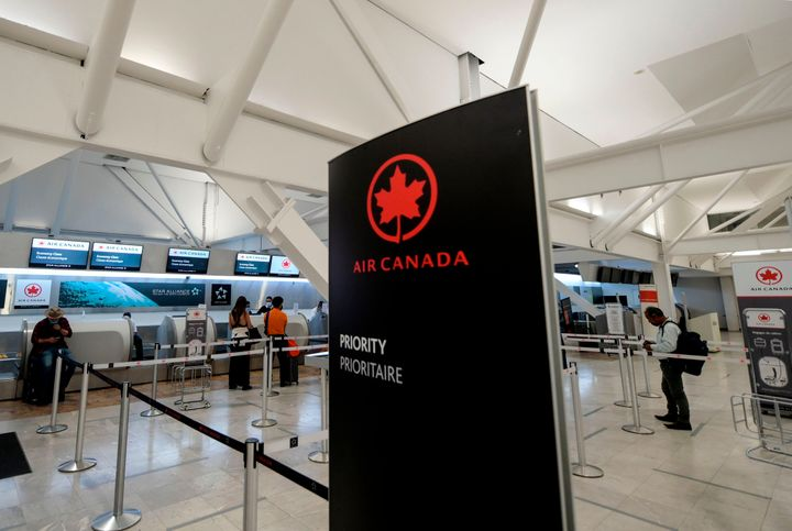 Air Canada hall at the Benito Juarez International airport, in Mexico City, on May 20, 2020. The airline has announced it will end its seat distancing policies on planes.