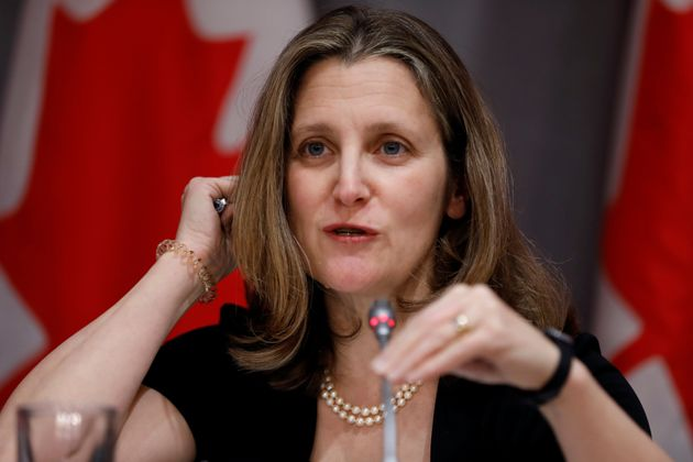 Deputy Prime Minister Chrystia Freeland attends a news conference in Ottawa on March 23, 2020 as...
