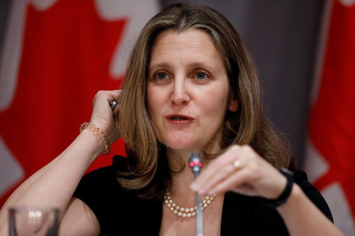 Deputy Prime Minister Chrystia Freeland attends a news conferencein Ottawa on March 23, 2020 as efforts continue to help slow the spread of COVID-19.