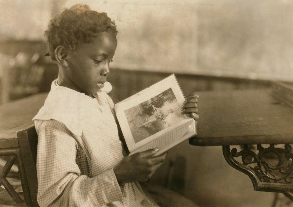 Young Girl Reading Book in Classroom, Pleasant Green School, Marlinton, Pocahontas County, West Virginia,...