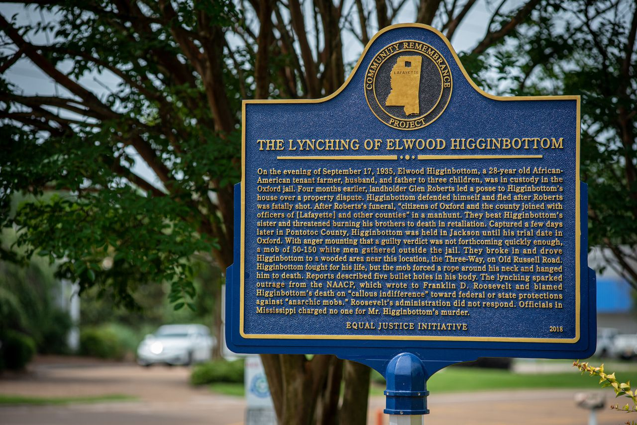 A commemorative plaque marks the spot of the 1935 lynching of Elwood Higginbottom in Oxford, Mississippi. Studies show that areas of the U.S. that have a history of lynching also have higher rates of corporal punishment in public schools.
