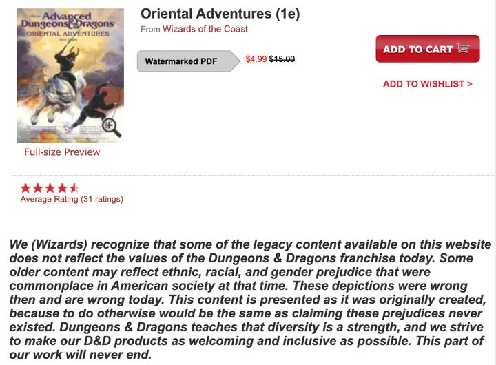 The disclaimer is now visible on Dungeon Masters Guild and Drive Thru RPG, two online marketplaces where old D&D content is a