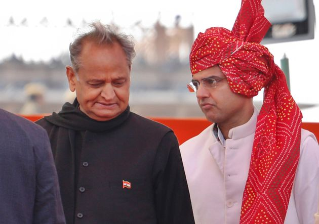 Rajasthan's chief minister Ashok Gehlot, left and deputy chief minister Sachin Pilot in a file