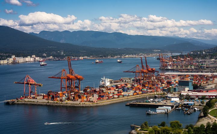 The Port of Vancouver lies along the Burrard Inlet in this aerial stock photo. Capital Economics says Canada's trade deficit will widen as the demand for Canadian exports dries up.