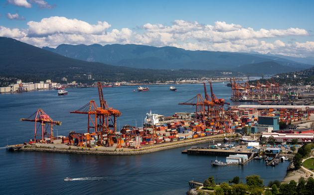 The Port of Vancouver lies along the Burrard Inlet in this aerial stock photo. Capital Economics says...