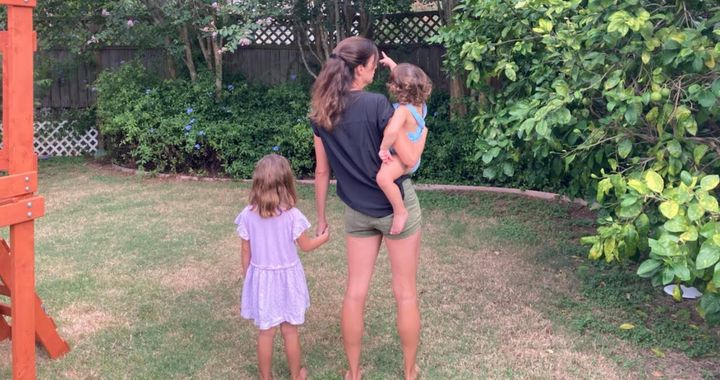 The author with her two children in July 2020.