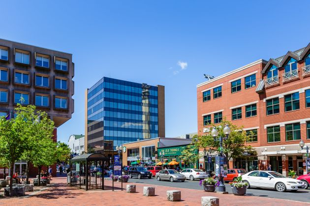 Downtown Moncton, N.B. is seen in an undated file photo. The city ranks at the top of the latest Labour...