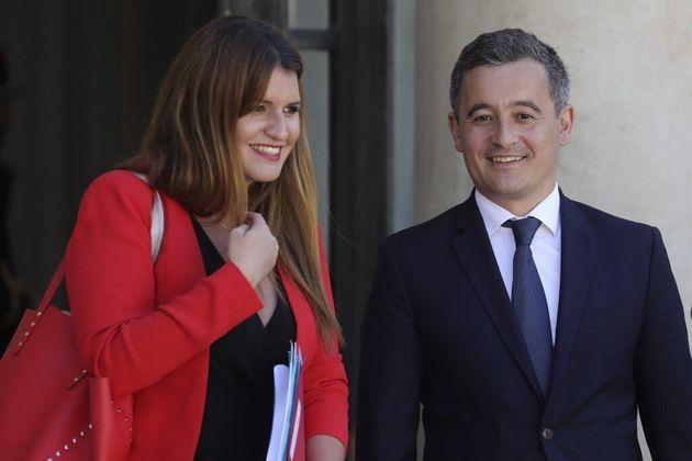 Marlène Schiappa et son ministre de tutelle, Gérald Darmanin, le 7 juillet 2020 à la sortie de