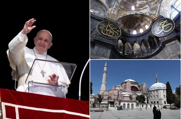 Il papa durante l'Angelus - un interno e un esterno di Santa Sofia a