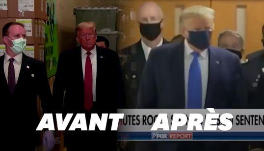 """Donald Trump assure n'avoir """"jamais été contre le masque"""" sauf"""