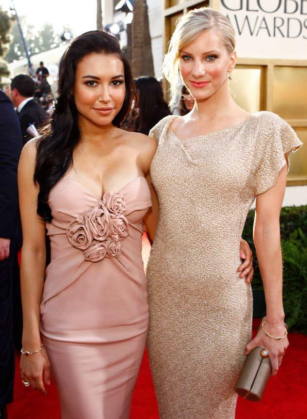 Naya Rivera (left) and Heather Morris arrive at the 68th Annual Golden Globe Awards in