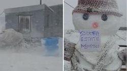 Tormenta di neve in Marmolada: