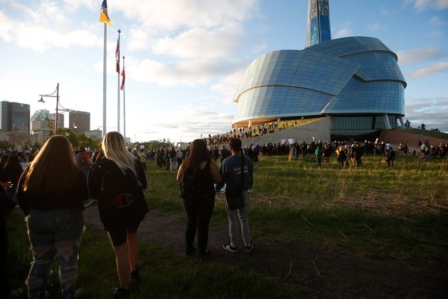 People gather in solidarity with the George Floyd protests across the United States at the Canadian Museum...