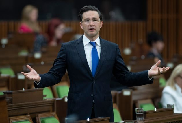 Conservative MP Pierre Poilievre rises in the House of Commons after the government delivered a fiscal...