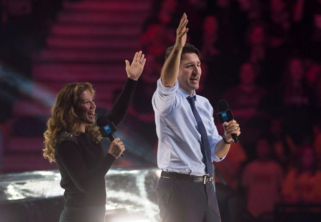 Prime Minister Justin Trudeau and his wife Sophie Gregoire-Trudeau appear at the WE Day celebrations...