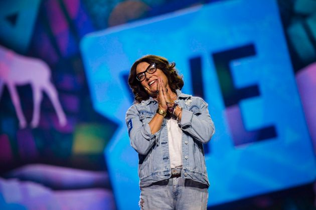 Margaret Trudeau speaks to the audience at fans at a We Day event in Toronto on Sept. 20,