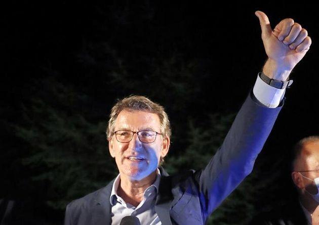 Feijóo celebra su resultado electoral este domingo 12 de