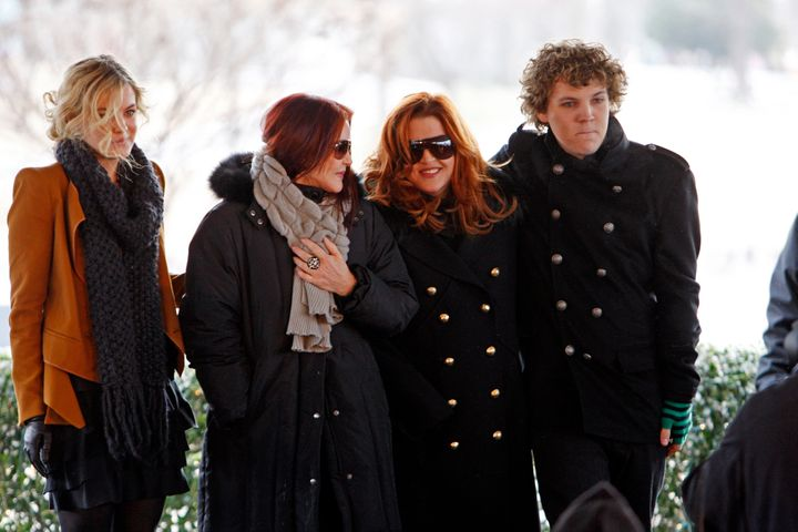 Benjamin Keough, far right, is seen with his sister Riley Keough, far left, grandmother Priscilla Presley, and mother Lisa Marie, second from right, at a ceremony commemorating Elvis Presley's 75th birthday on Jan. 8, 2010 in Memphis, Tenn.