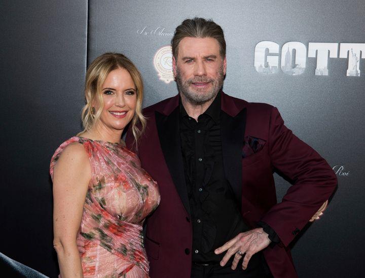 "Kelly Preston and John Travolta attend the premiere of ""Gotti"" at the SVA Theatre on Thursday, June 14, 2018, in New York. (P"