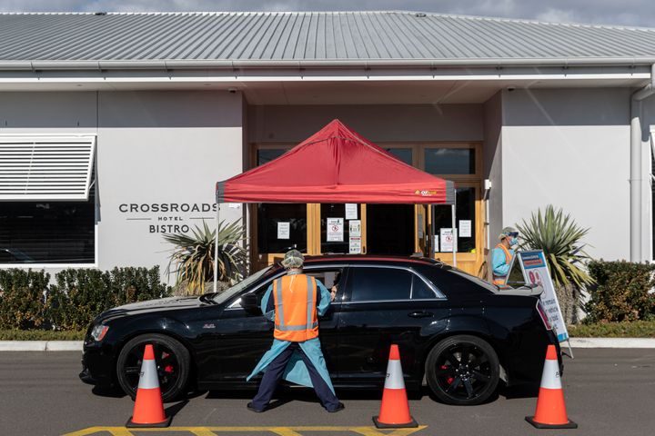 SYDNEY, AUSTRALIA - JULY 13: COVID-19 testing is carried out at the Crossroads Hotel in Casula on July 13, 2020 in Sydney, Australia.