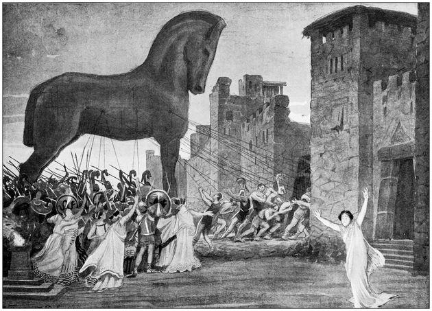 Antigua ilustración que representa al Caballo de