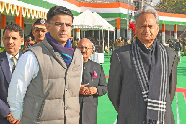 Rajasthan Chief Minister Ashok Gehlot and Deputy CM Sachin Pilot during this year's Republic Day parade...