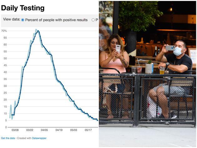 ニューヨーク市の新型コロナウイルス陽性率の推移 /