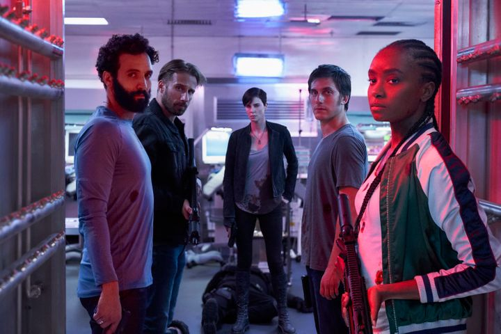 "(Left to right) Marwan Kenzari, Matthias Schoenaerts, Charlize Theron, Luca Marinelli and Kiki Layne in ""The Old Guard."""