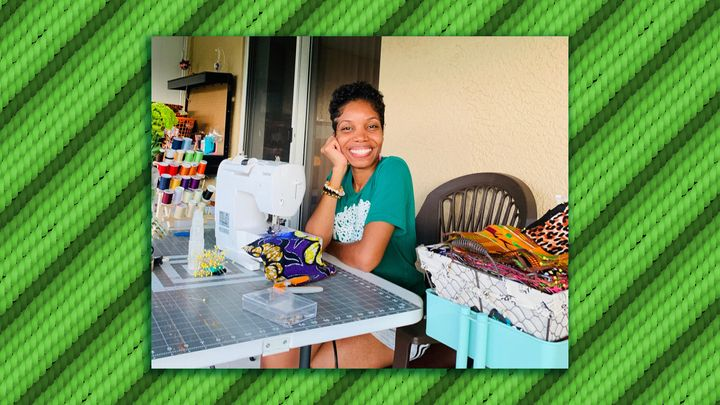 Rickeysha Godfrey working at home in Sebring, Florida, photographed by her 6-year-old daughter.