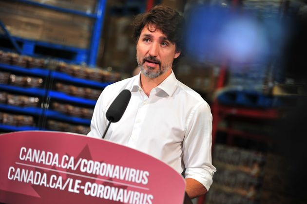 Justin Trudeau provides an update on the pandemic in Gatineau, Que., Canada, on July 3, 2020, during...