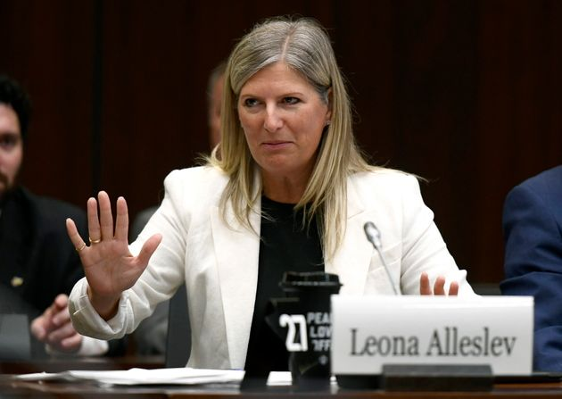 Conservative MP Leona Alleslev speaks with Liberal MP and committee chair Michael Levitt in Ottawa on...