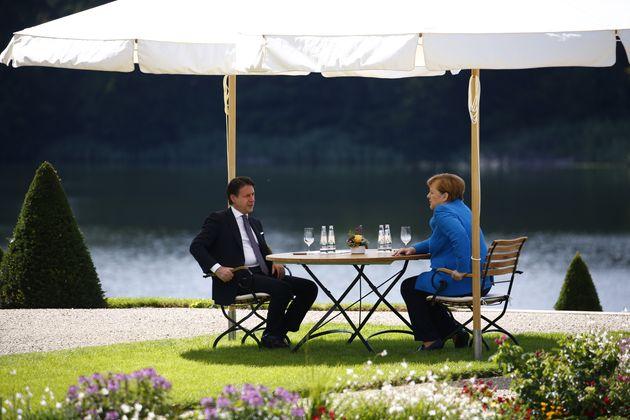 13/07/2020 Berlino, la Cancelliera tedesca Angela Merkel riceve il presidente del Consiglio dei Ministri...
