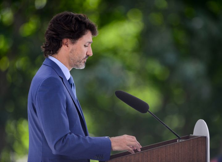 Prime Minister Justin Trudeau holds a press conference at Rideau Cottage amid the COVID-19 pandemic in Ottawa on July 13, 2020.