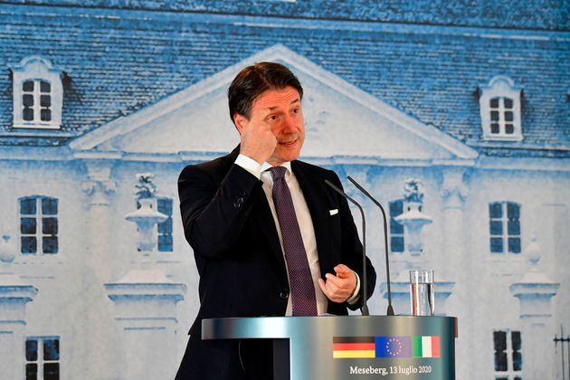 Italian Prime Minister Giuseppe Conte speaks during a press conference with the German Chancellor (unseen)...